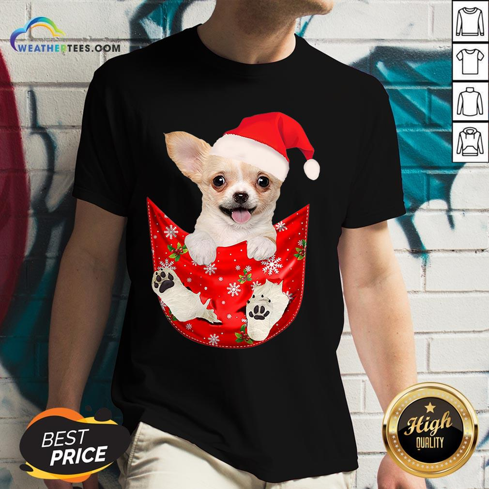 Hi Santa Chihuahua Dog Merry Christmas V-neck - Design By Weathertees.com