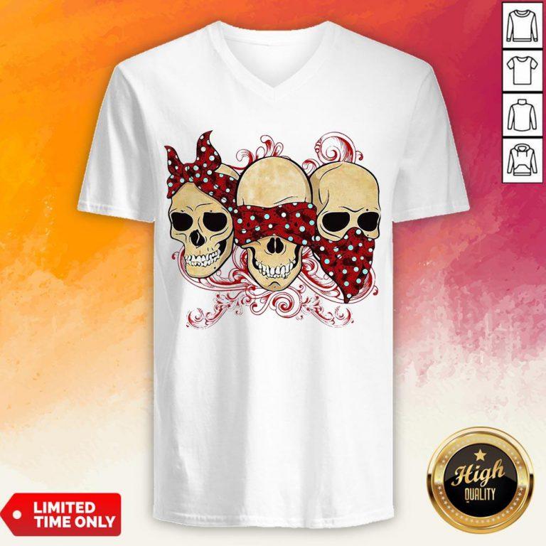 Hot Three Calavera Skull Jaw V-neck