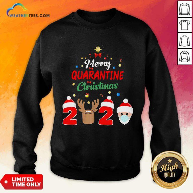 How Merry Quarantine Christmas 2020 Xmas Pajamas Holidays Sweatshirt - Design By Weathertees.com