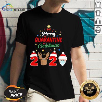 How Merry Quarantine Christmas 2020 Xmas Pajamas Holidays V-neck - Design By Weathertees.com