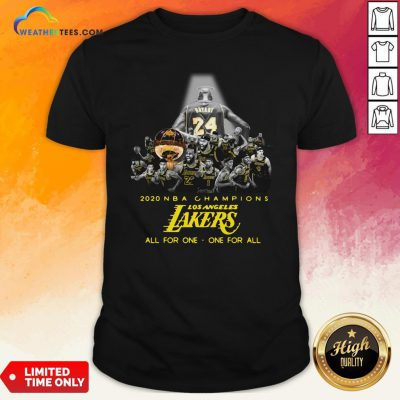 Kobe Bryant 2020 NBA Champions Los Angeles Lakers All For One One For All Shirt