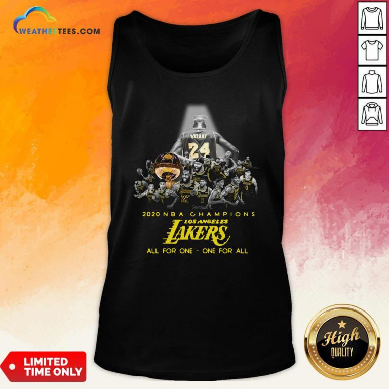Kobe Bryant 2020 NBA Champions Los Angeles Lakers All For One One For Al Tank Top