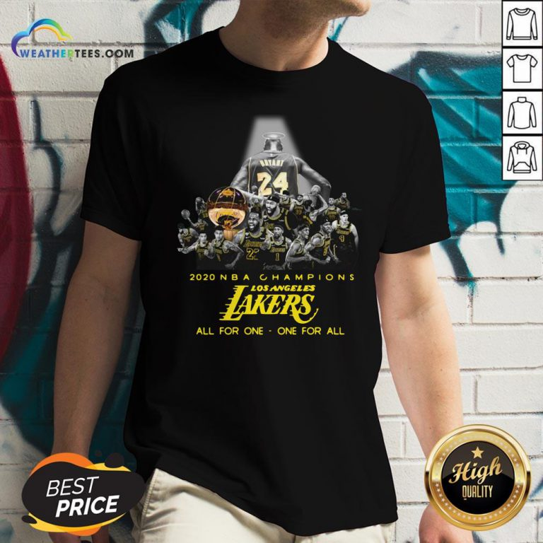 Kobe Bryant 2020 NBA Champions Los Angeles Lakers All For One One For Al V-neck