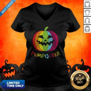 LGBT Rainbow Pumpqueer Smile Halloween V-neck