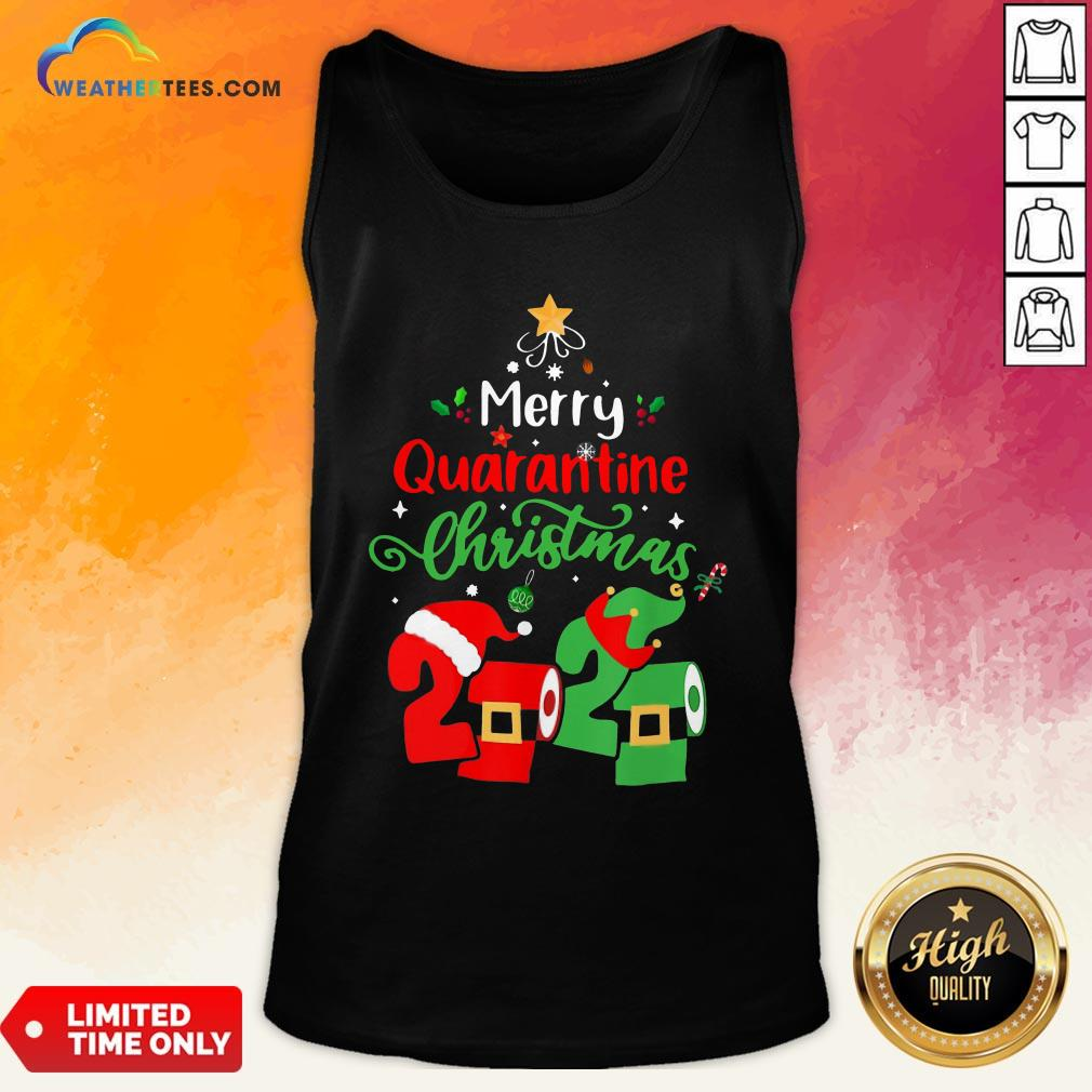Love Merry Quarantine Christmas 2020 Toilet Paper Tank Top- Design By Weathertees.com