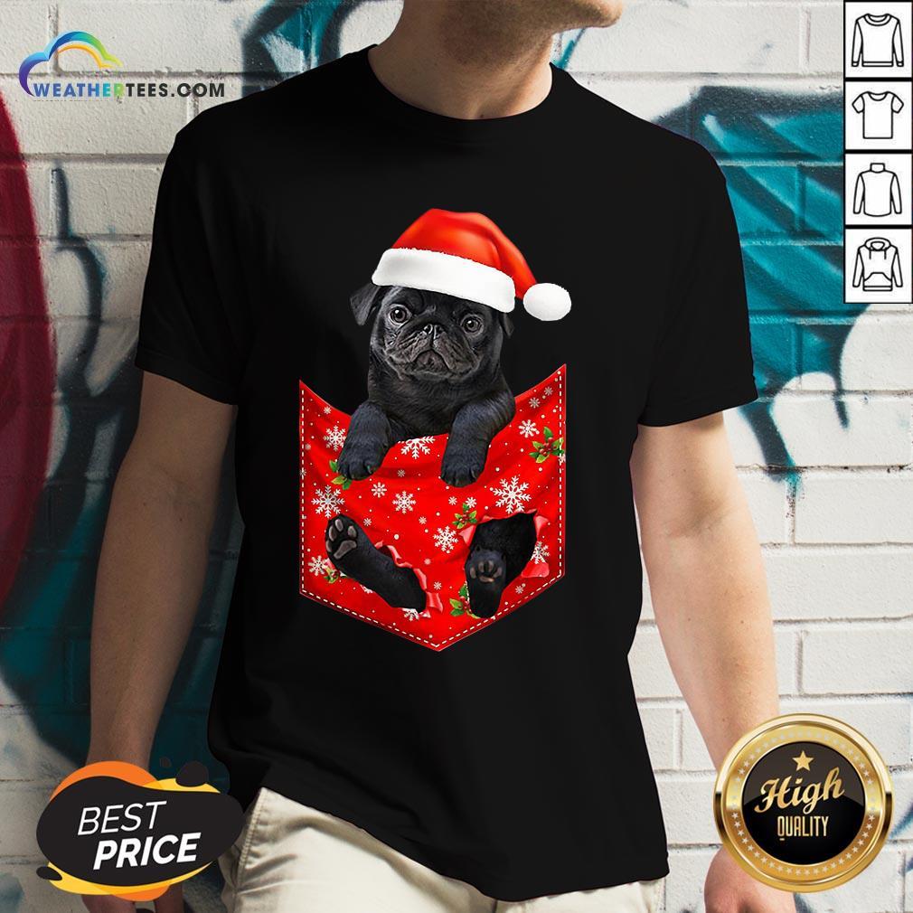 Mama Santa Pug Merry Christmas V-neck- Design By Weathertees.com