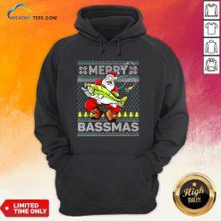 Merry Bassmas Fish Santa Christmas Hoodie- Design By Weathertees.com