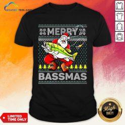 Merry Bassmas Fish Santa Christmas Shirts - Design By Weathertees.com