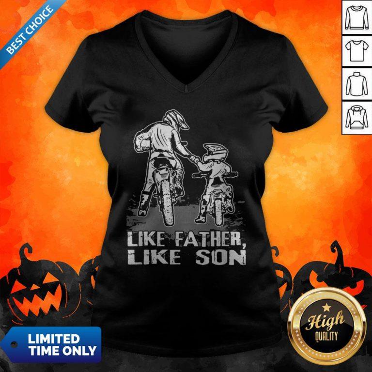 Motocross Dirt Bike Like Father Like Son Biker Lovers V-neck