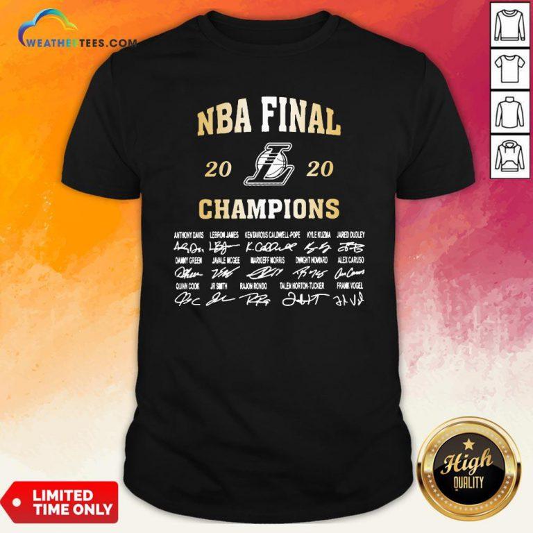NBA Final 2020 Los Angeles Lakers Champions Signatures Shirt