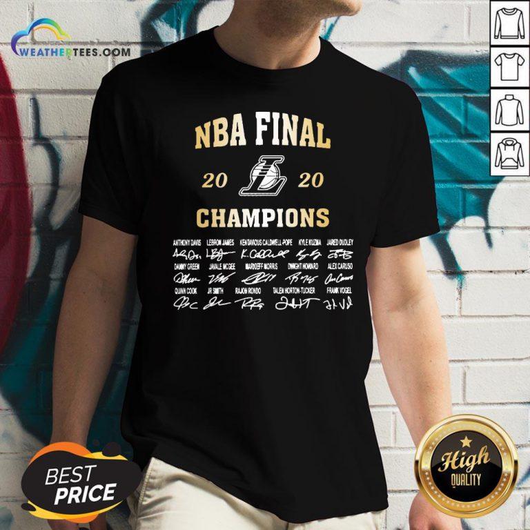 NBA Final 2020 Los Angeles Lakers Champions Signatures V-neck