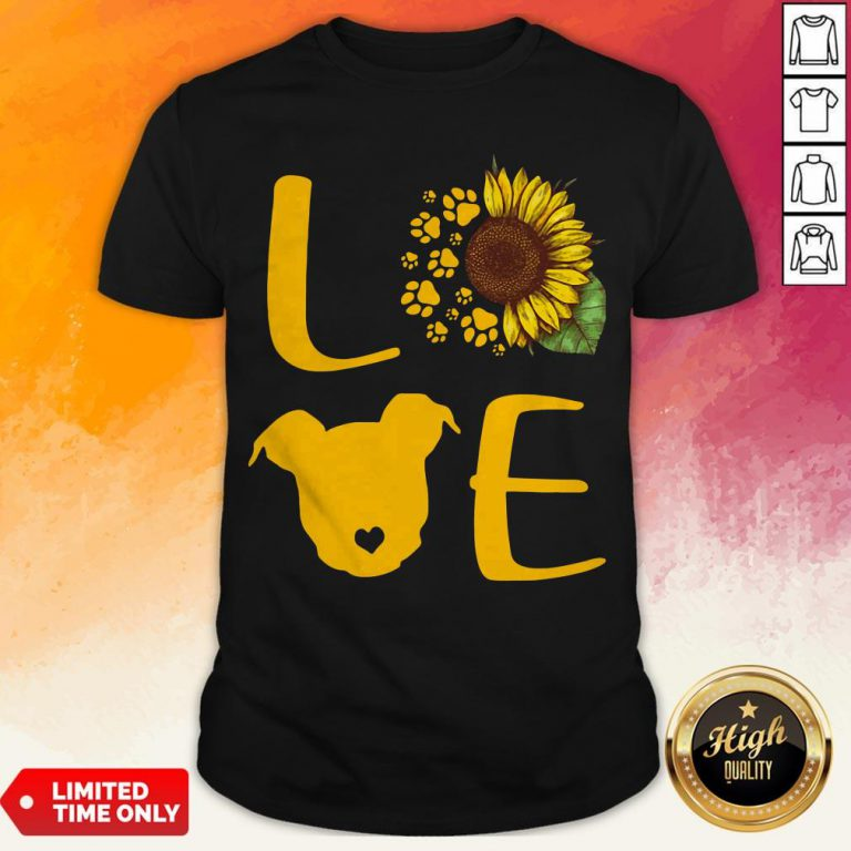 Nice Pitbull Love Sunflower Shirt