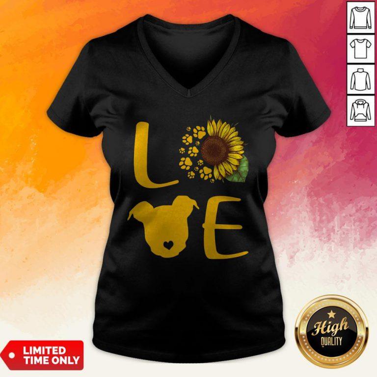 Nice Pitbull Love Sunflower V-neck