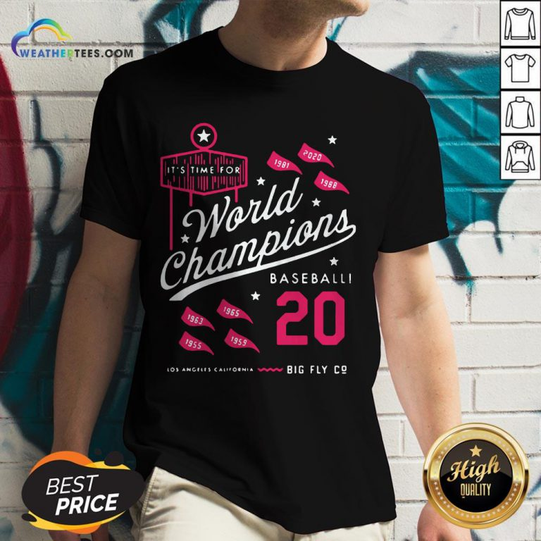 Noon It's Time For World Champions Baseball 2020 Los Angeles California V-neck- Design By Weathertees.com