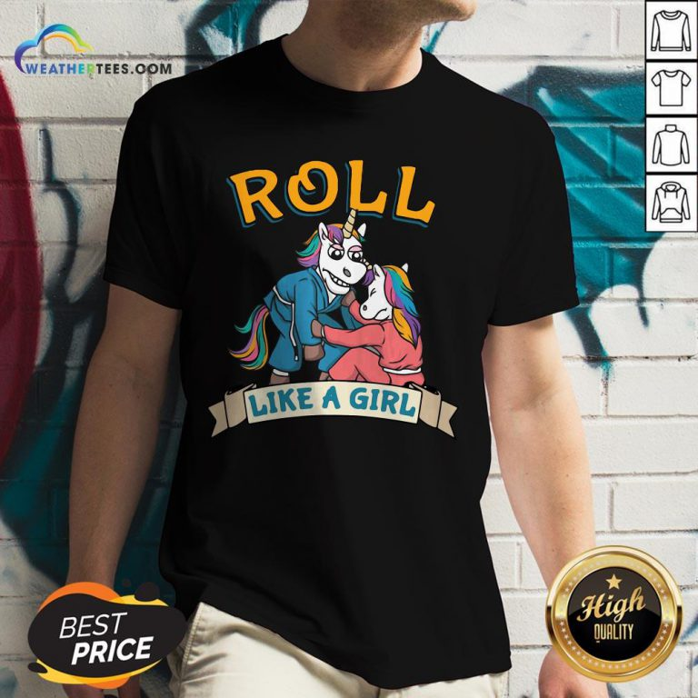Official Jiu Jitsu Unicorn Mma Roll Like Girl V-neck - Design By Weathertees.com