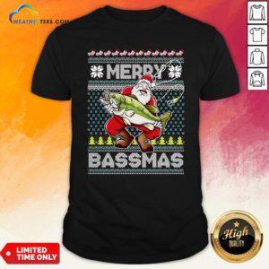 Official Merry Bassmas Fish Santa Ugly Christmas Shirt