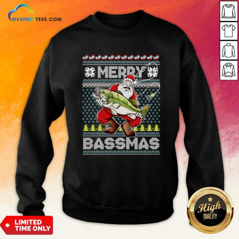 Official Merry Bassmas Fish Santa Ugly Christmas Sweatshirt