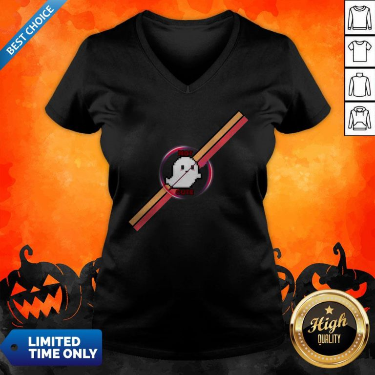 Official Not Cute Ghost Halloween V-neck