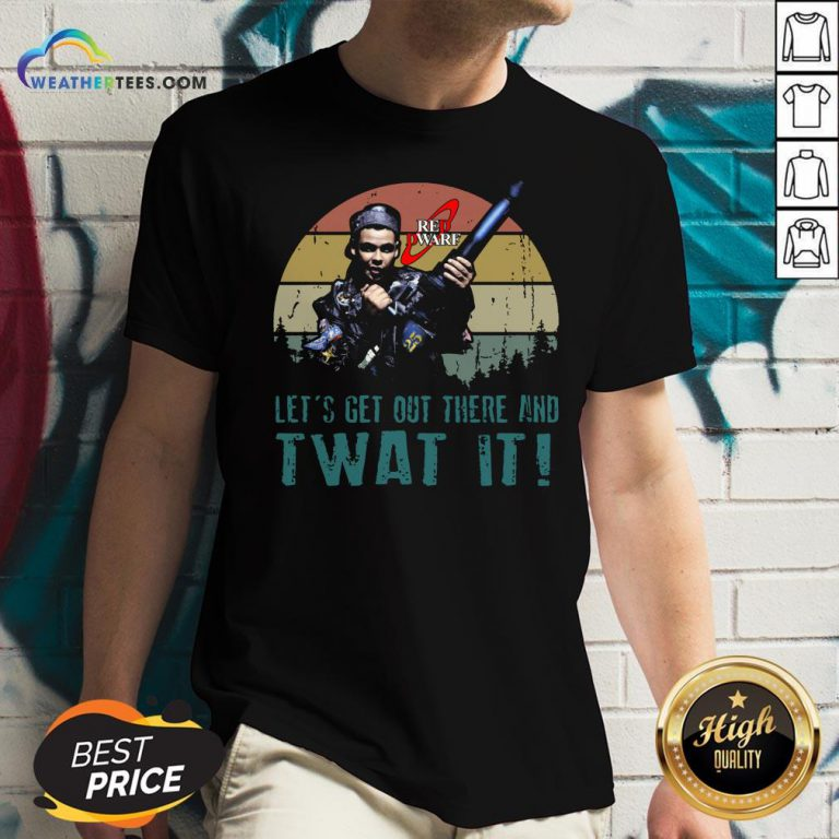 Official Red Dwarf Let's Get Out There And Twat It Vintage V-neck