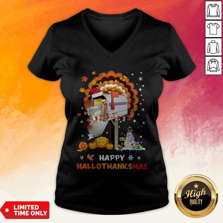 Postal Happy Hallo Thanksmas V-neck