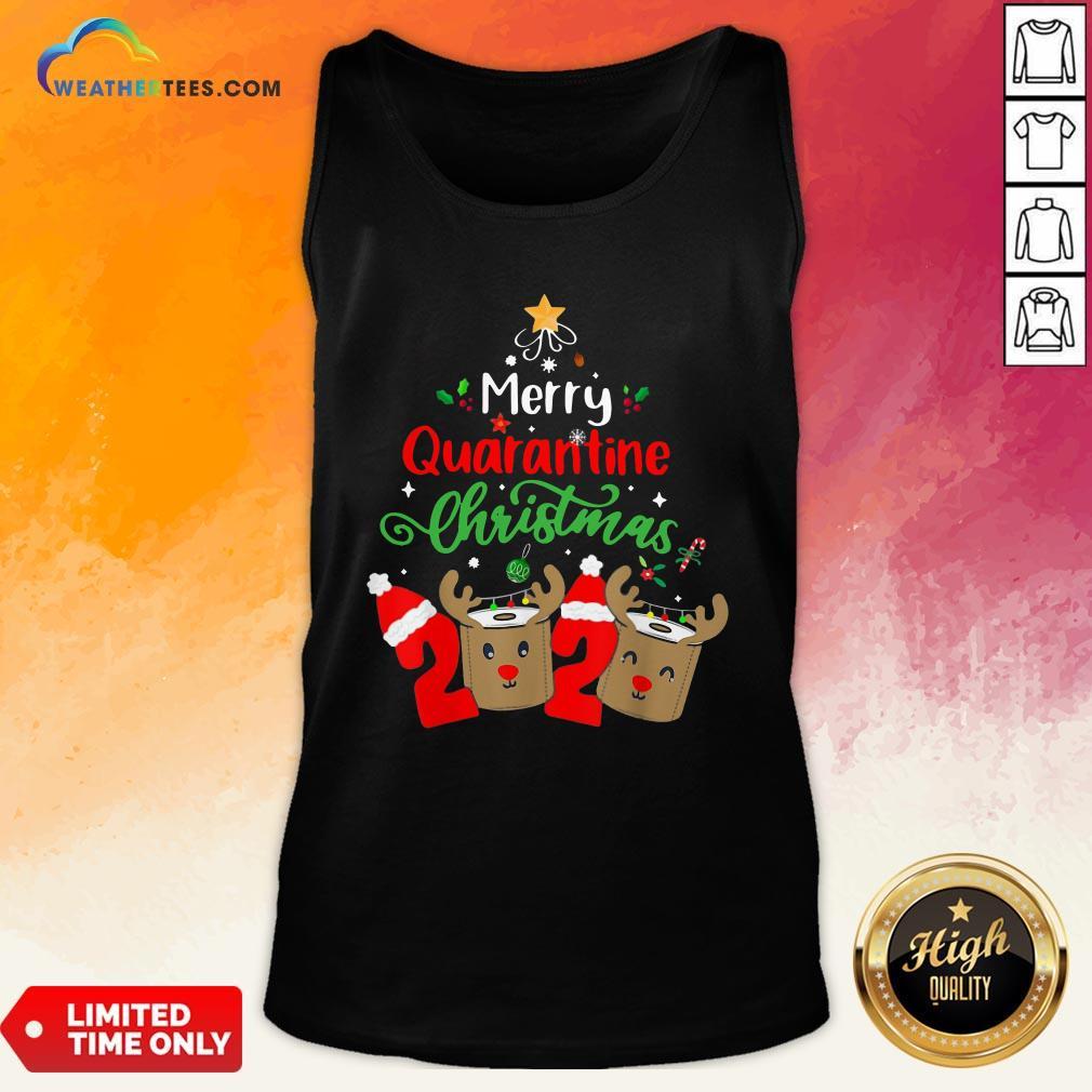 Queen Quarantine Christmas 2020 Xmas Reindeer Toilet Paper Tank Top - Design By Weathertees.com