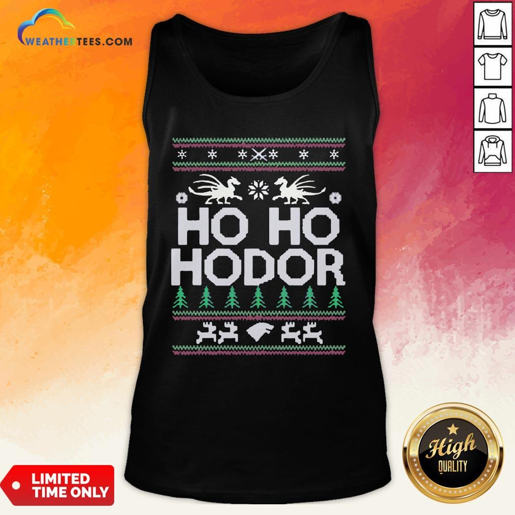 Right Ho ho Hodor Ugly Christmas Tank Top- Design By Weathertees.com