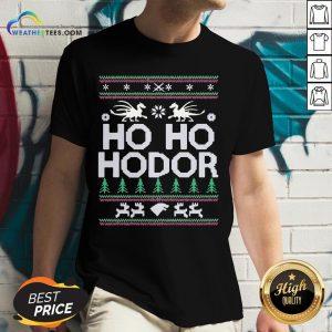 Right Ho ho Hodor Ugly Christmas V-neck - Design By Weathertees.com