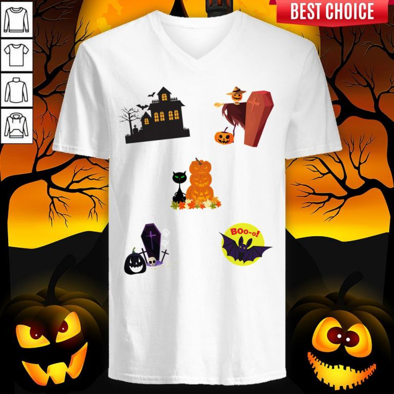 Scary Boo Pumpkins Happy Halloween Day V-neck
