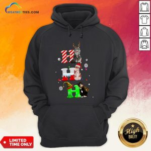 Smile HO HO HO Cats Reindeer Santa And Elf Merry Christmas Hoodie - Design By Weathertees.com