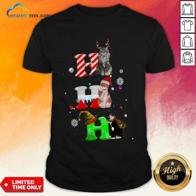 Smile HO HO HO Cats Reindeer Santa And Elf Merry Christmas Shirt - Design By Weathertees.com