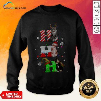 Smile HO HO HO Cats Reindeer Santa And Elf Merry Christmas Sweatshirt - Design By Weathertees.com