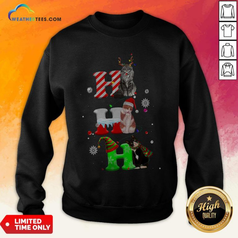 Smile HO HO HO Cats Reindeer Santa And Elf Merry Christmas Sweatshirt - Design By Weathertees.com