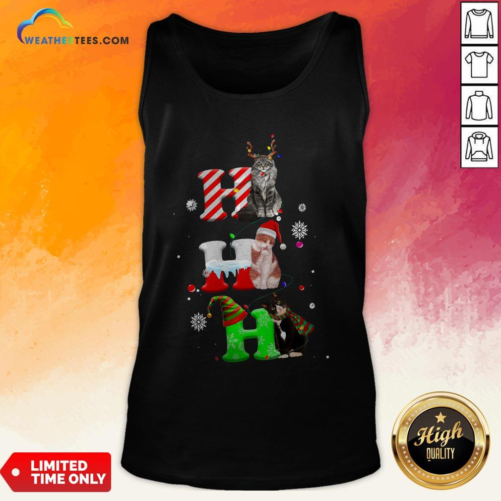 Smile HO HO HO Cats Reindeer Santa And Elf Merry Christmas Tank Top - Design By Weathertees.com