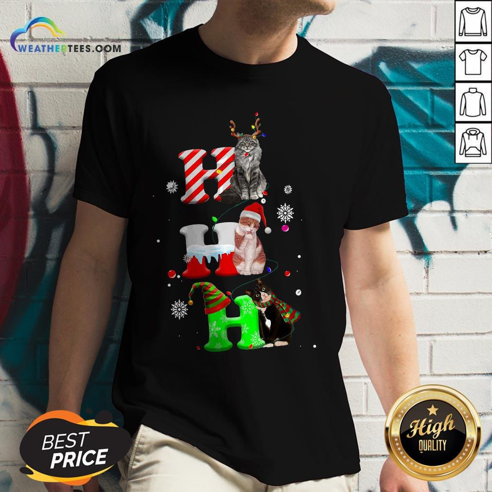Smile HO HO HO Cats Reindeer Santa And Elf Merry Christmas V-neck - Design By Weathertees.com