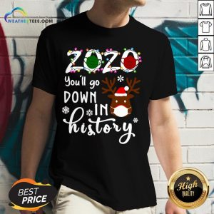 Things Gnomies 2020 You'll Go Down In History Christmas V-neck - Design By Weathertees.com
