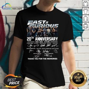 Very Fast And Furious 20th Anniversary 2001-2021 9 Films Thank You For The Memories Signatures V-neck- Design By Weathertees.com