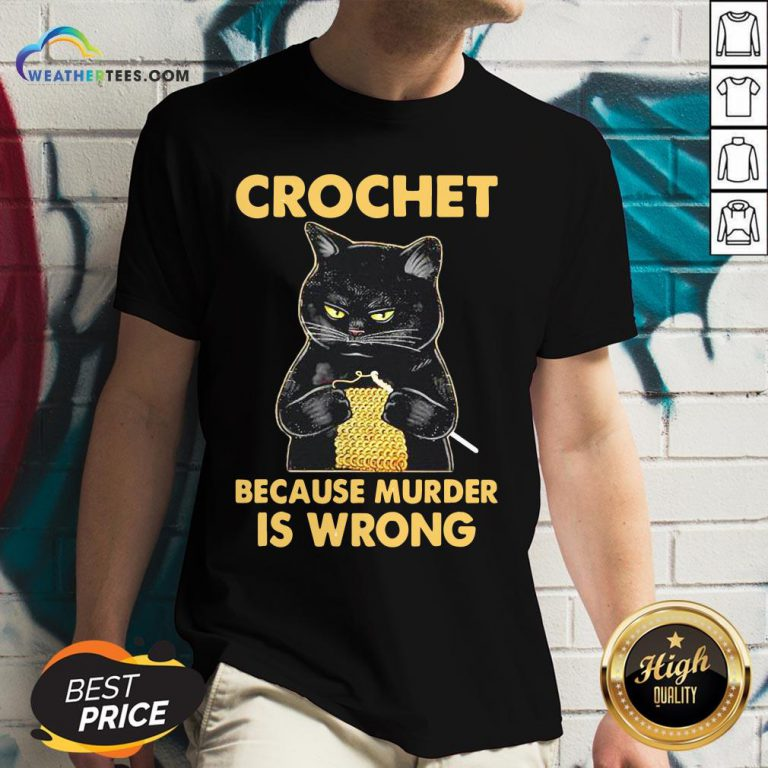Waters Crochet Black Cat Murder Because Murder Is Wrong V-neck - Design By Weathertees.com