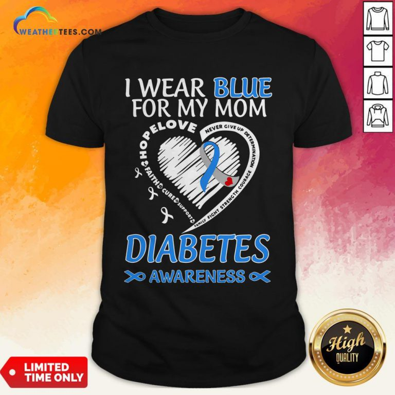 Went I Wear Blue For My Mom Never Give Up Determination Family Fight Strength Diabetes Awareness Shirt - Design By Weathertees.com