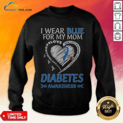 Went I Wear Blue For My Mom Never Give Up Determination Family Fight Strength Diabetes Awareness Sweatshirt - Design By Weathertees.com