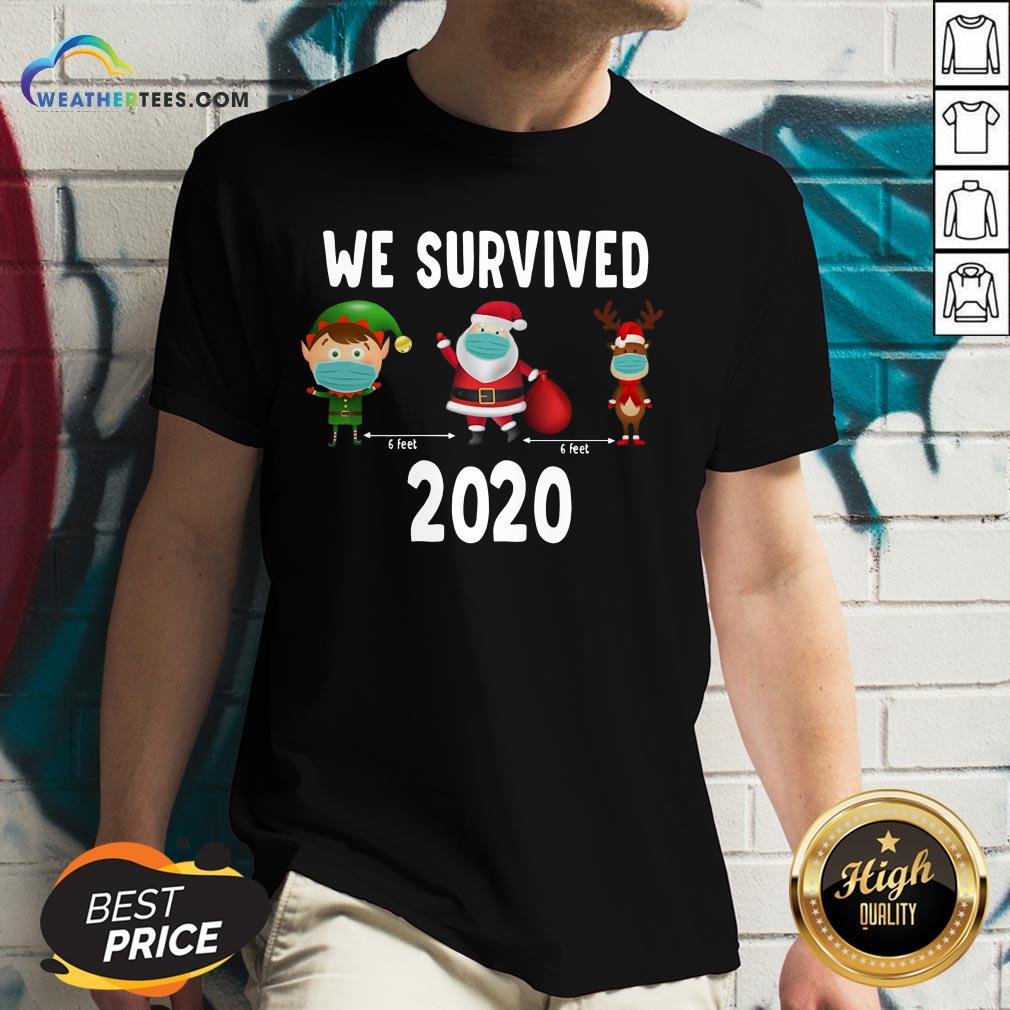 Awesome Elf Santa Claus Reindeer 6 Feet We Survived 2020 Christmas V-neck- Design By Weathertees.com