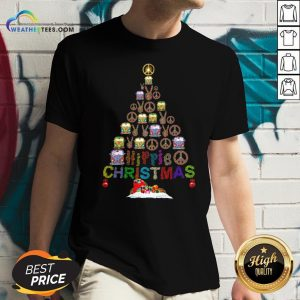 Beauty Peace Hippie Bus Christmas Tree V-neck - Design By Weathertees.com