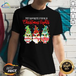 Best Awesome Owls Gnomes My Favorite Color Is Christmas Light V-neck - Design By Weathertees.com