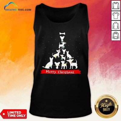 Best Dogs Tre Merry Christmas Ugly Tank Top - Design By Weathertees.com