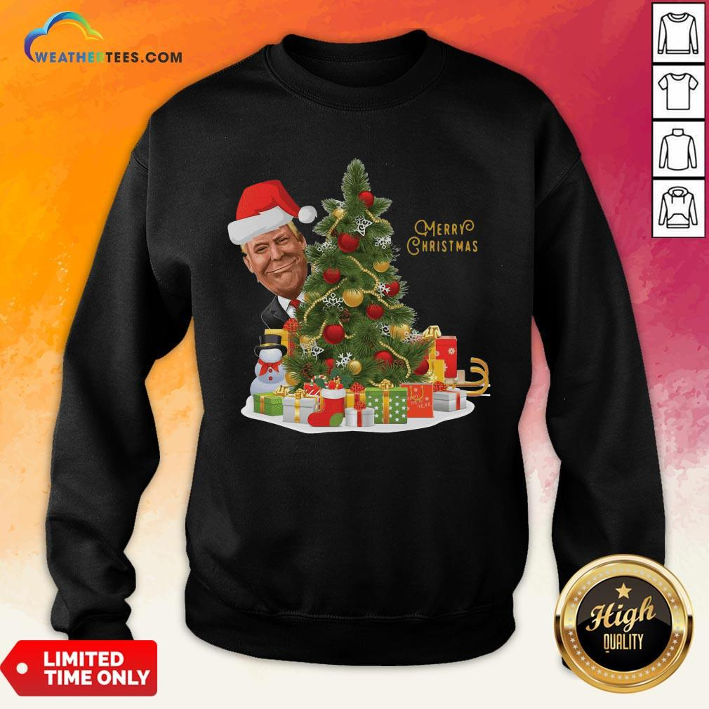Best Donald Trump Merry Christmas Tree Sweatshirt - Design By Weathertees.com