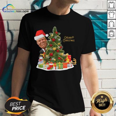 Best Donald Trump Merry Christmas Tree V-neck - Design By Weathertees.com