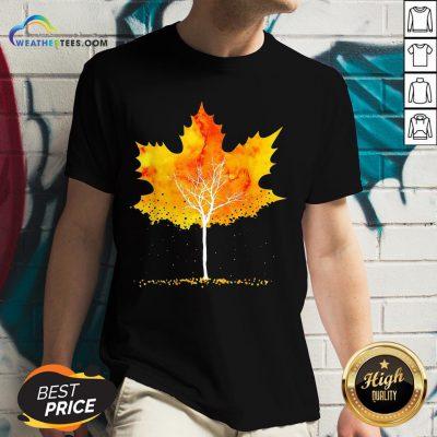 Best Maple Leaf Autumn Tree Orange Fall Leaves Season V-neck - Design By Weathertees.com