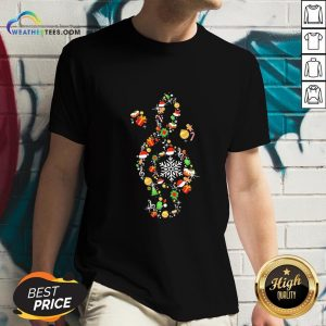 Best Music Note Santa Claus Merry Christmas V-neck - Design By Weathertees.com