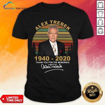 Better Alex Trebek 1940 – 2020 Thank You For The Memories Signature Vintage Shirt- Design By Weathertees.com