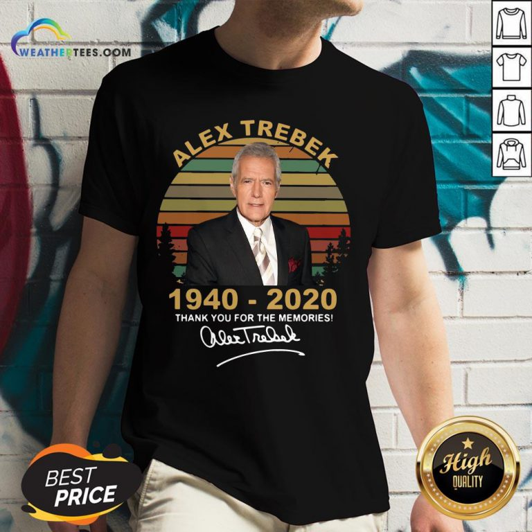 Better Alex Trebek 1940 – 2020 Thank You For The Memories Signature Vintage V-neck- Design By Weathertees.com