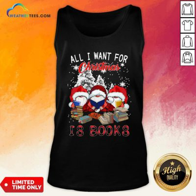 Boom Gnome Read Book All I Want For Christmas Is Books Tank Top - Design By Weathertees.com